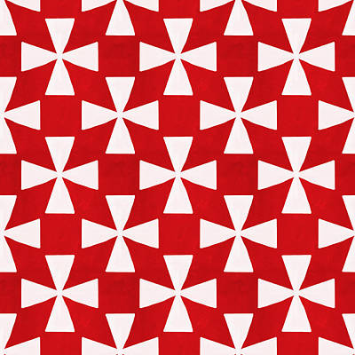 Geometric Shapes Mixed Media - Spice Twirl- Red And White Pattern by Linda Woods