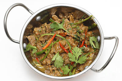 Photograph - Spiced Lamb With Chillies High Angle by Paul Cowan