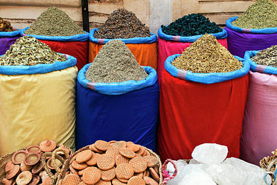 Moroccan Photograph - Spices For Sale, Souk In The Medina by Nico Tondini