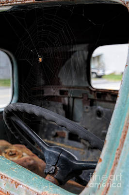 1947 Dodge Truck Photograph - Spider And Web In Junk Truck Windshield by Andrew Dierks