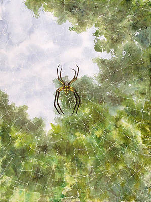 Painting - Spider In Web #2 by Jennifer  Creech