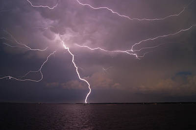 Photograph - Spider Lightning Over Charleston Harbor by E Karl Braun
