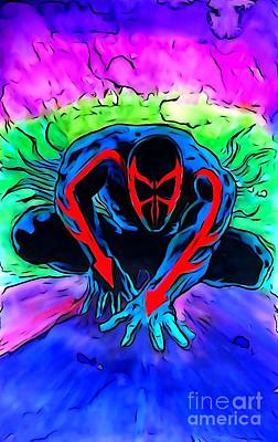 Handcrafted Drawing - Spider-man 2099 Illustration Edition by Justin Moore