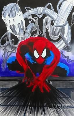 Spider-man Enhanced Watercolor Art Print by Justin Moore