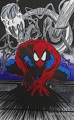 Spider-man Illustration Art Print by Justin Moore