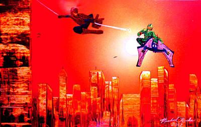 Art Print featuring the painting Spider Man  by Michael Rucker