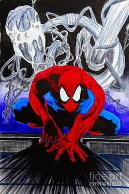 Spider Man Drawing - Spider-man Pop by Justin Moore
