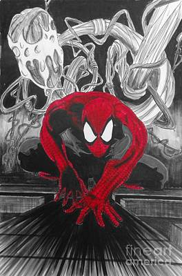 Spider Man Drawing - Spider-man Red by Justin Moore
