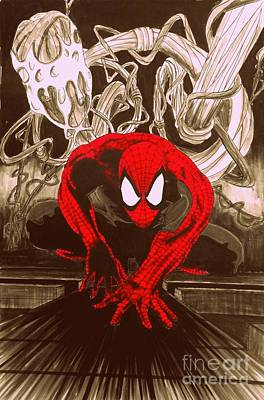 Spider-man Red Posterized Edition Art Print by Justin Moore