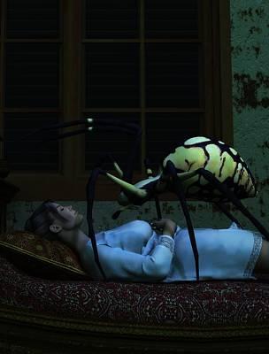 Scary Digital Art - Spider Nightmare by Daniel Eskridge