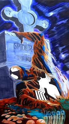 Spider Man Drawing - Spider Resurrection Watercolor by Justin Moore