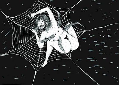 Spider Woman Drawing - Spider Woman by Silvia Paolelli