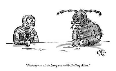 Superheros Drawing - Spiderman And Bedbug Man Are Seen Speaking by Farley Katz