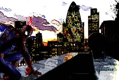 Rooftops Mixed Media - Spiderman In London by The DigArtisT