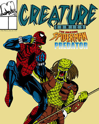 Spiderman Vs Predator Art Print by Mista Perez Cartoon Art