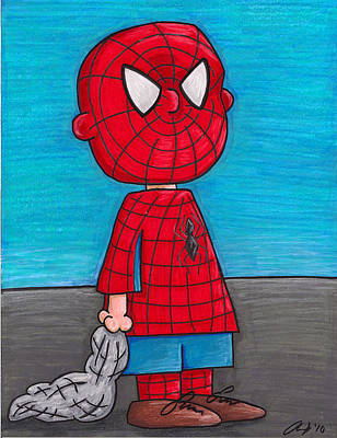 Linus Wall Art - Drawing - Spidey Linus by Andy Driscoll