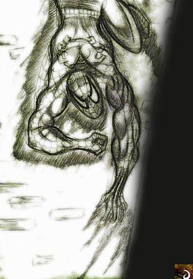 Spiderman Drawing - Spidy Wall-crawler by Jazzboy