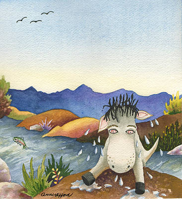 Painting - Spike Isn't Much Of A Swimmer by Anne Gifford