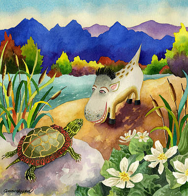 Painting - Spike The Dhog Comes Nose To Nose With A Painted Turtle by Anne Gifford