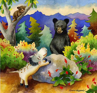 Bear Cub Painting - Spike The Dhog Encounters A Mother Bear In The Forest by Anne Gifford