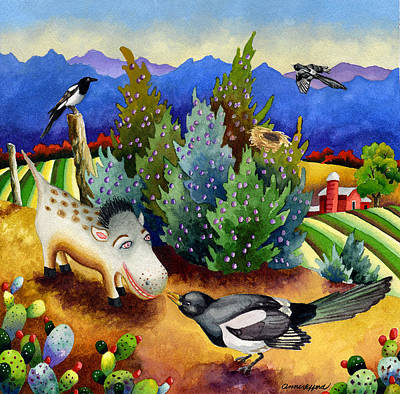 Magpies Painting - Spike The Dhog Meets A Magpie by Anne Gifford