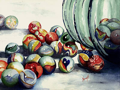 Painting - Spilled Marbles by Sam Sidders