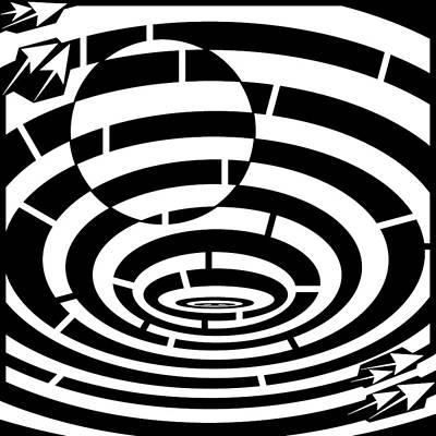 Optical Illusion Maze Drawing - Spin Art Be The Ball Maze  by Yonatan Frimer Maze Artist