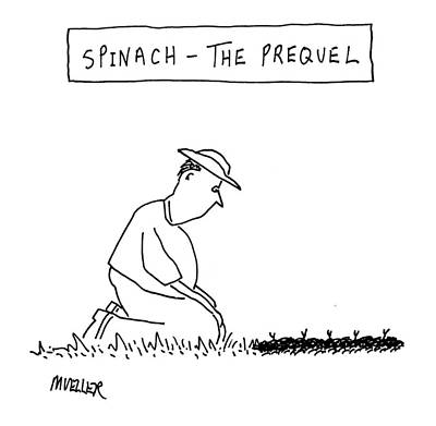 Spinach Drawing - 'spinach: The Prequel' by Peter Mueller