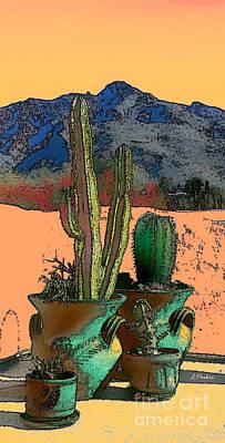 Tucson Digital Art - Spiney Potted Cacti by Linda  Parker