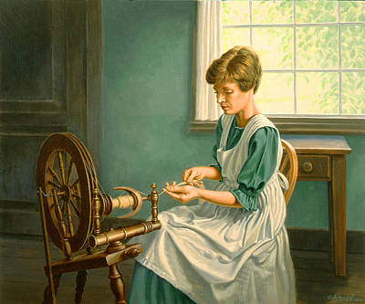 Spinning Painting - Spinning At The Homestead by Paul Krapf