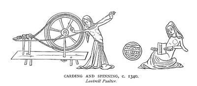 Psalter Painting - Spinning, C1340 by Granger