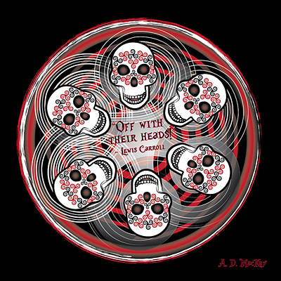 Digital Art - Spinning Celtic Skulls by Celtic Artist Angela Dawn MacKay
