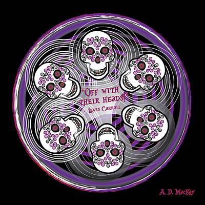 Celtic Digital Art - Spinning Celtic Skulls In Purple by Celtic Artist Angela Dawn MacKay