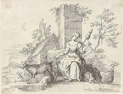 Herding Dog Drawing - Spinning Shepherdess, Paul Van Somer II by Paul Van Somer (ii)