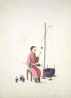 Spinning Silk, 19th-century China Art Print by British Library