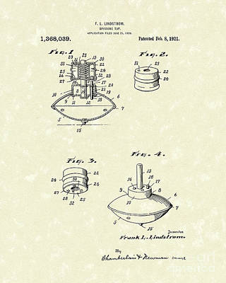 Spinning Drawing - Spinning Top 1921 Patent Art by Prior Art Design