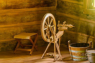 Old Time Spool Photograph - Spinning Wheel by Elvis Vaughn
