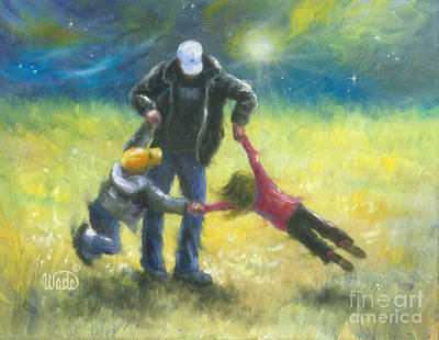 Prairie Girl Wall Art - Painting - Playing With Dad by Vickie Wade