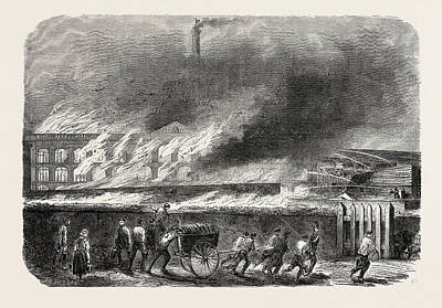 Spinning Wool And Silk Factory In Flames Art Print