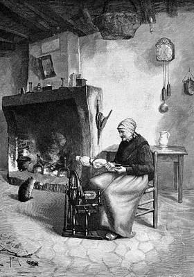 Spinning Wheels Photograph - Spinning Wool by Bildagentur-online/tschanz
