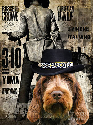 Painting - Spinone Italiano - Italian Spinone Art Canvas Print - 3 10 To Yuma Movie Poster by Sandra Sij
