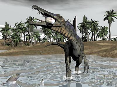 Spinosaurus Dinosaur Walking In Water Print by Elena Duvernay