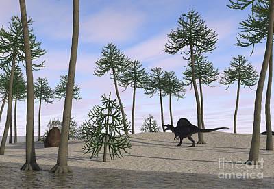 Prehistoric Digital Art - Spinosaurus Hunting Along The Shore by Kostyantyn Ivanyshen