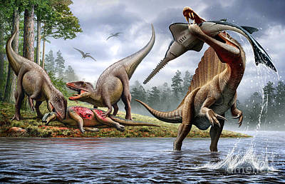 The Pain Digital Art - Spinosaurus Hunting An Onchopristis by Mohamad Haghani