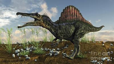 Prehistoric Digital Art - Spinosaurus In A Desert Landscape by Kostyantyn Ivanyshen