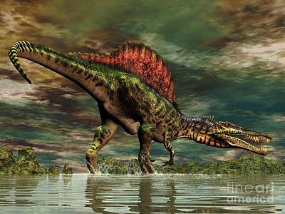 Anger Digital Art - Spinosaurus Was A Large Theropod by Philip Brownlow