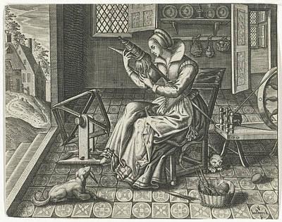 House Plant Drawing - Spinster In An Interior, Jan Van Halbeeck by Jan Van Halbeeck