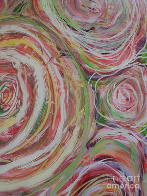 Reverse On Plexiglass Painting - Spiral Bouquet by Anna Skaradzinska