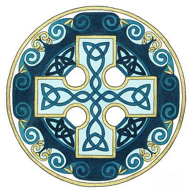 Spiral Cross Art Print by Cari Buziak