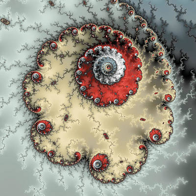 Abstract Digital Photograph - Spiral - Fractal Artwork In Yellow Gray And Red by Matthias Hauser